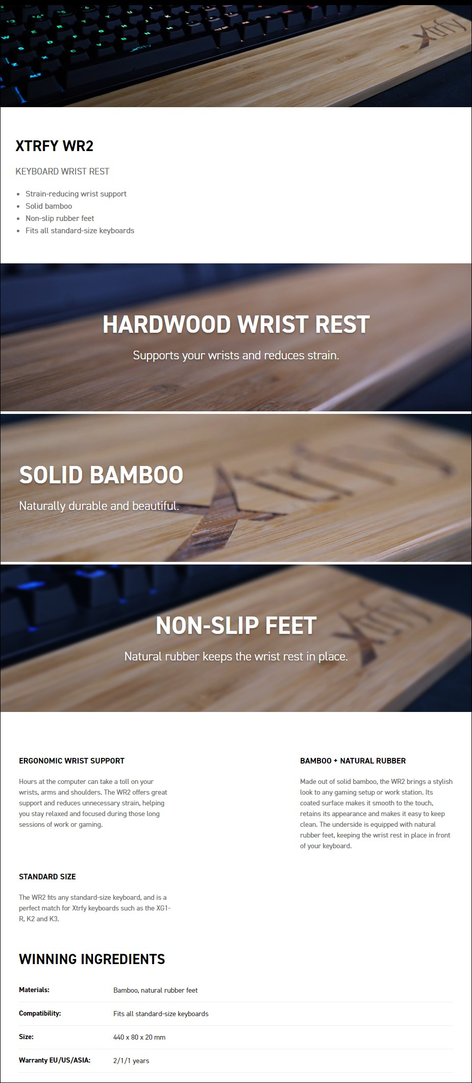 Xtrfy WR2 Bamboo Keyboard Wrist Rest - Overview 1