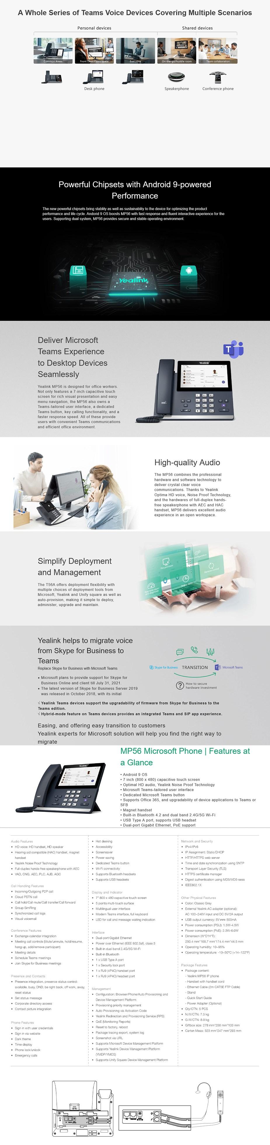 Yealink MP56 Microsoft Teams IP Phone - Overview 1
