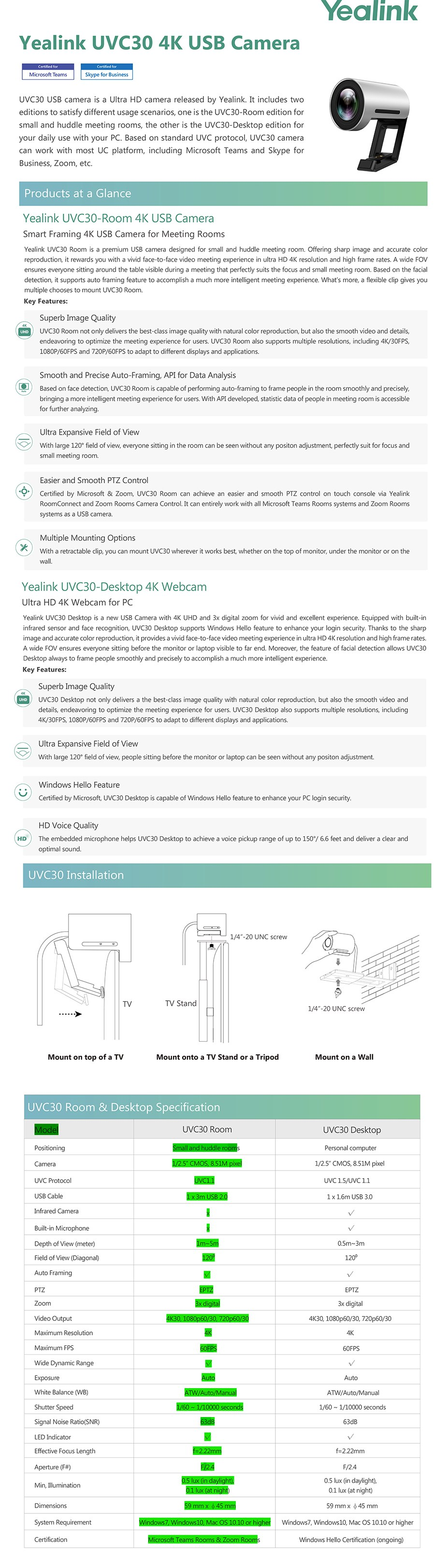 Yealink UVC30 4K USB Camera for Meeting Rooms - Overview 1