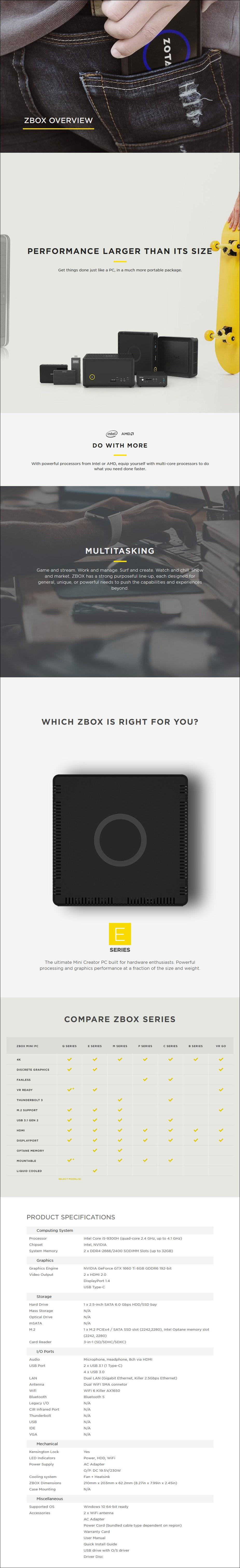 Zotac ZBOX EN51660T Barebone Mini PC - i5-9300H GTX1660Ti WiFi BT - Overview 1