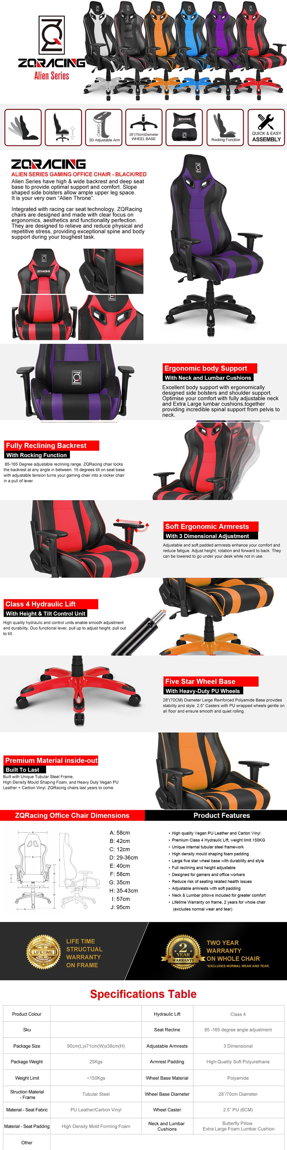 ZQRacing Alien Series Gaming Office Chair - Overview 1
