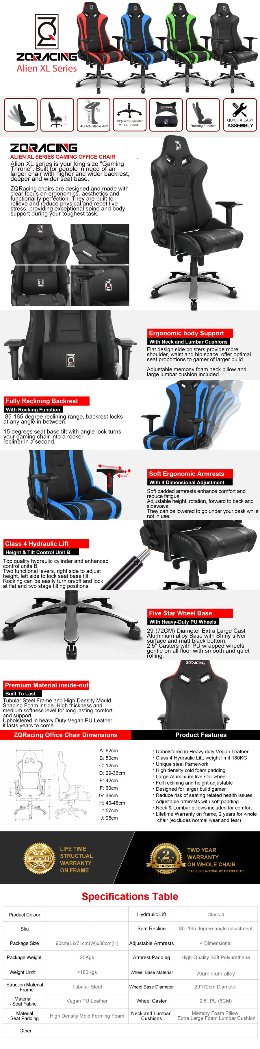 ZQRacing Alien XL Series Gaming Office Chair - Overview 1