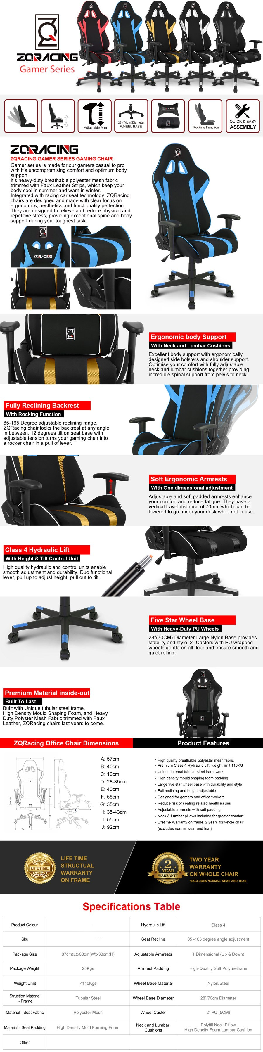 ZQRacing Gamer Series Gaming Office Chair - Overview 1
