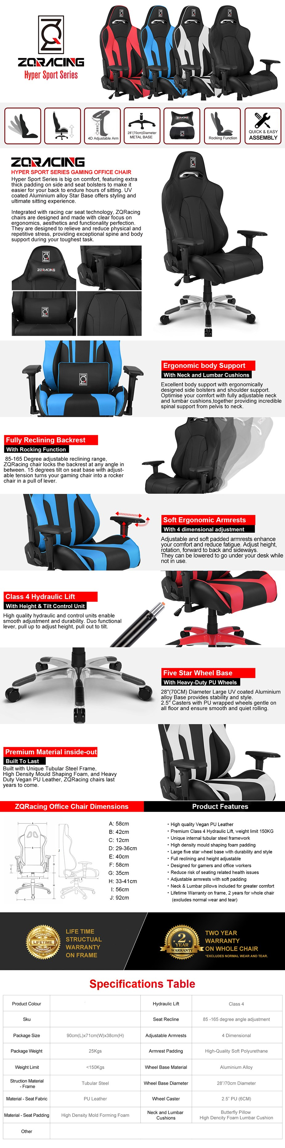 ZQRacing Hyper Sport Series Gaming Office Chair - Overview 1