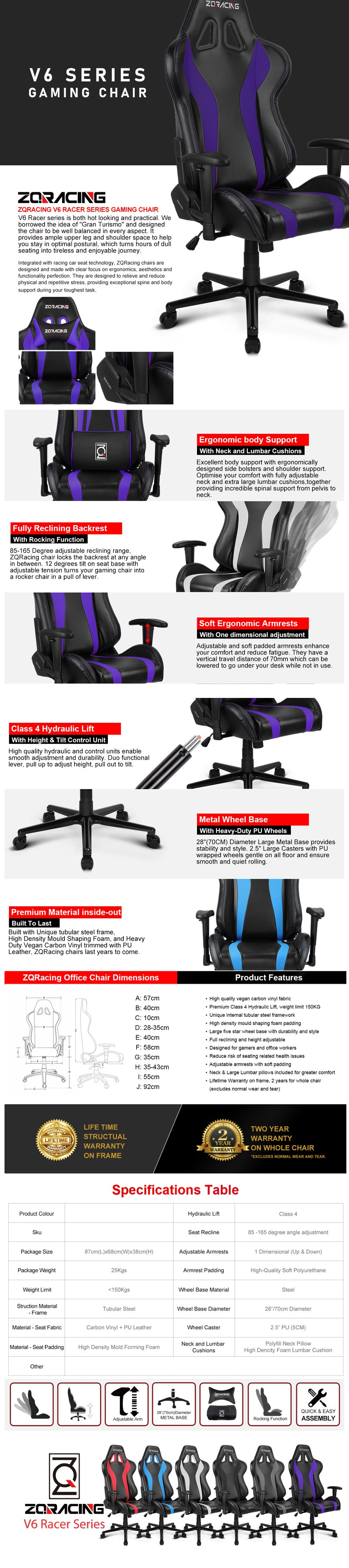 ZQRacing V6 Racer Series Gaming Office Chair - Overview 1